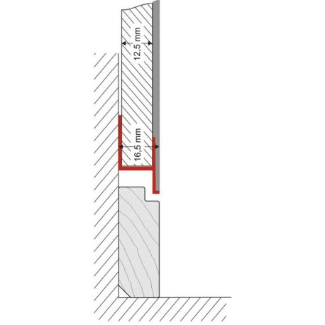 ADP-KU-09 Aufdoppelungsprofil aus Kunststoff für flächenbündige Sockelleisten