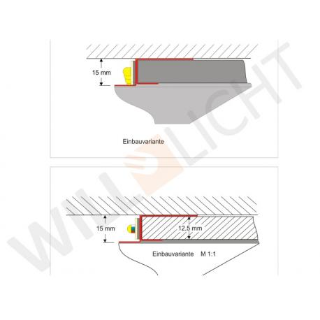 ADP flex LED-Trockenbauprofil für Rundungen, ohne Sichtschenkel für freie Flächen-/Lichtbandgestaltung