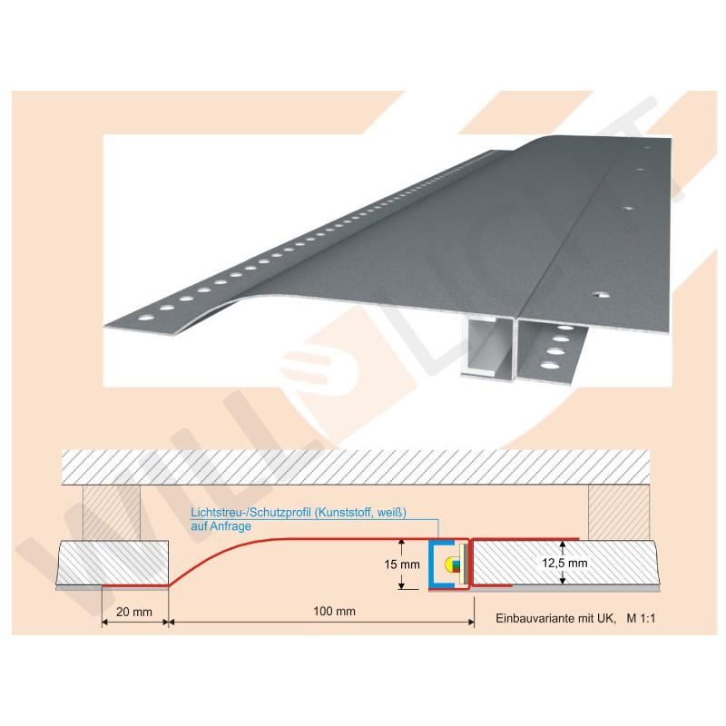 r10f led trockenbauprofil mit reflektor sichtschenkel f r einbau in die fl che will licht. Black Bedroom Furniture Sets. Home Design Ideas